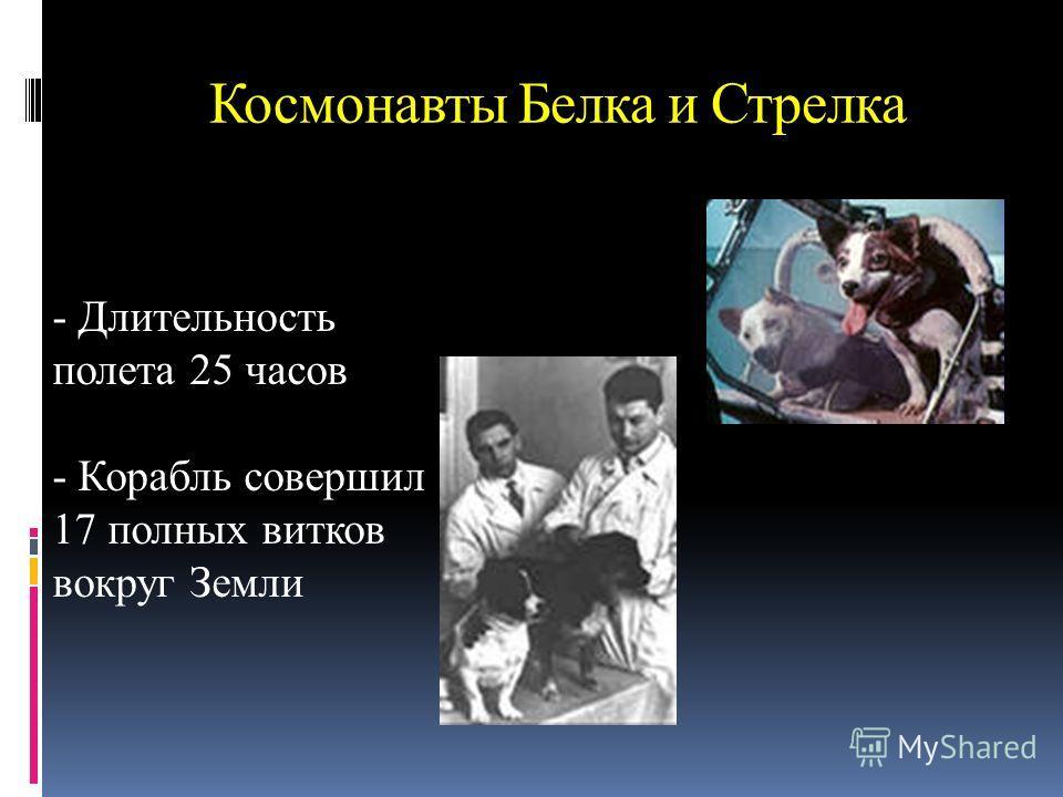 Космонавты Белка и Стрелка - Длительность полета 25 часов - Корабль совершил 17 полных витков вокруг Земли