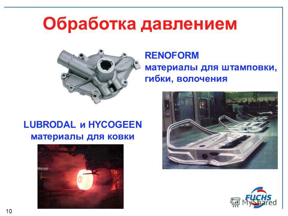 10 Обработка давлением RENOFORM материалы для штамповки, гибки, волочения LUBRODAL и HYCOGEEN материалы для ковки