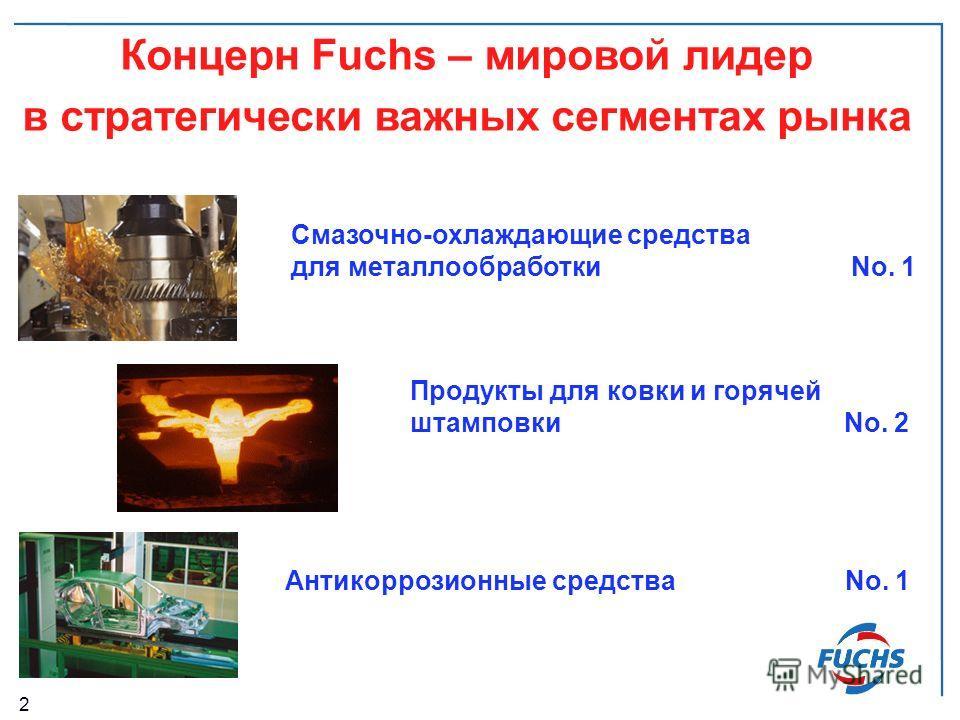 2 Продукты для ковки и горячей штамповки No. 2 Смазочно-охлаждающие средства для металлообработкиNo. 1 Антикоррозионные средстваNo. 1 Концерн Fuchs – мировой лидер в стратегически важных сегментах рынка