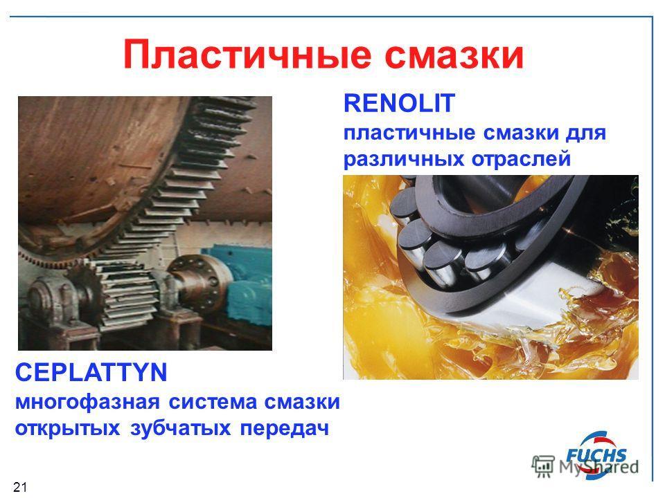 21 Пластичные смазки RENOLIT пластичные смазки для различных отраслей CEPLATTYN многофазная система смазки открытых зубчатых передач