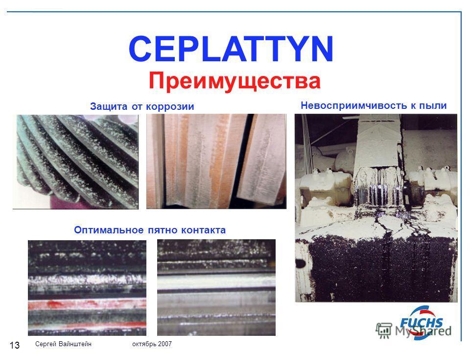Сергей Вайнштейн октябрь 2007 13 Защита от коррозии CEPLATTYN Преимущества Невосприимчивость к пыли Оптимальное пятно контакта