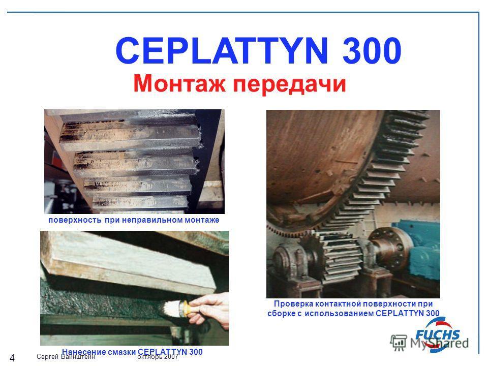 Сергей Вайнштейн октябрь 2007 4 CEPLATTYN 300 Монтаж передачи Проверка контактной поверхности при сборке с использованием CEPLATTYN 300 поверхность при неправильном монтаже Нанесение смазки CEPLATTYN 300