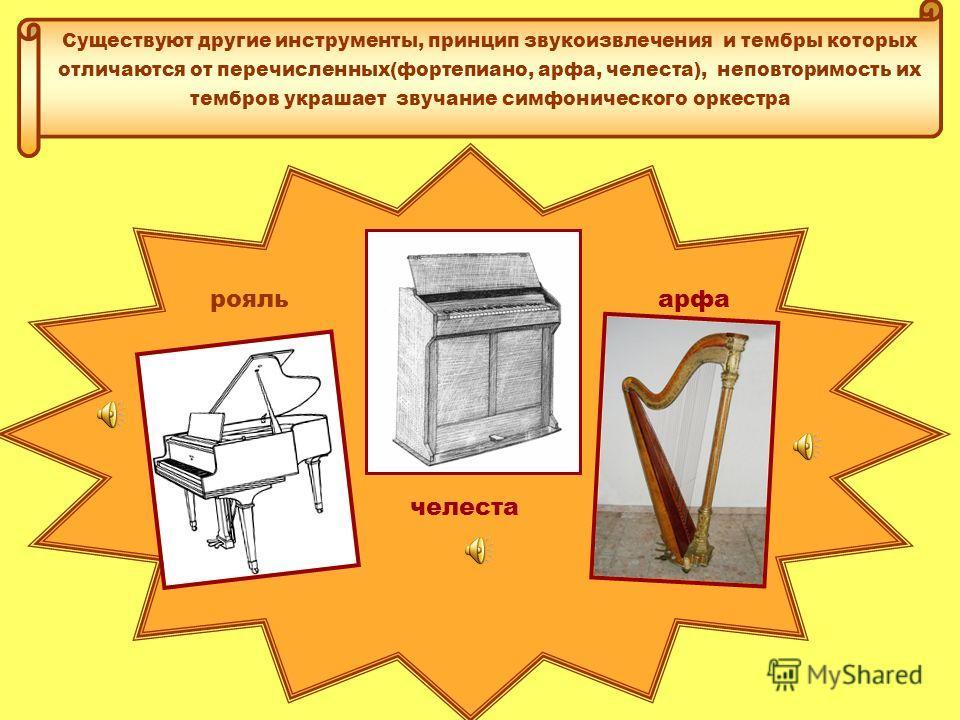 Ударные инструменты Звук возникает в результате удара по инструменту, группа представлена различными инструментами- большой и малый барабаны, литавры, тамбурин, ксилофон, цимбалы, треугольник. В оркестре важную роль играют литавры которые обладают оп