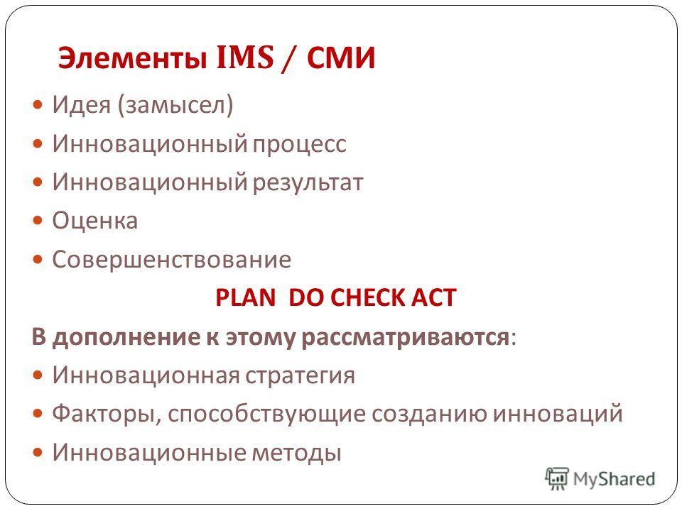 Элементы IMS / СМИ Идея (замысел) Инновационный процесс Инновационный результат Оценка Совершенствование PLAN DO CHECK ACT В дополнение к этому рассматриваются: Инновационная стратегия Факторы, способствующие созданию инноваций Инновационные методы