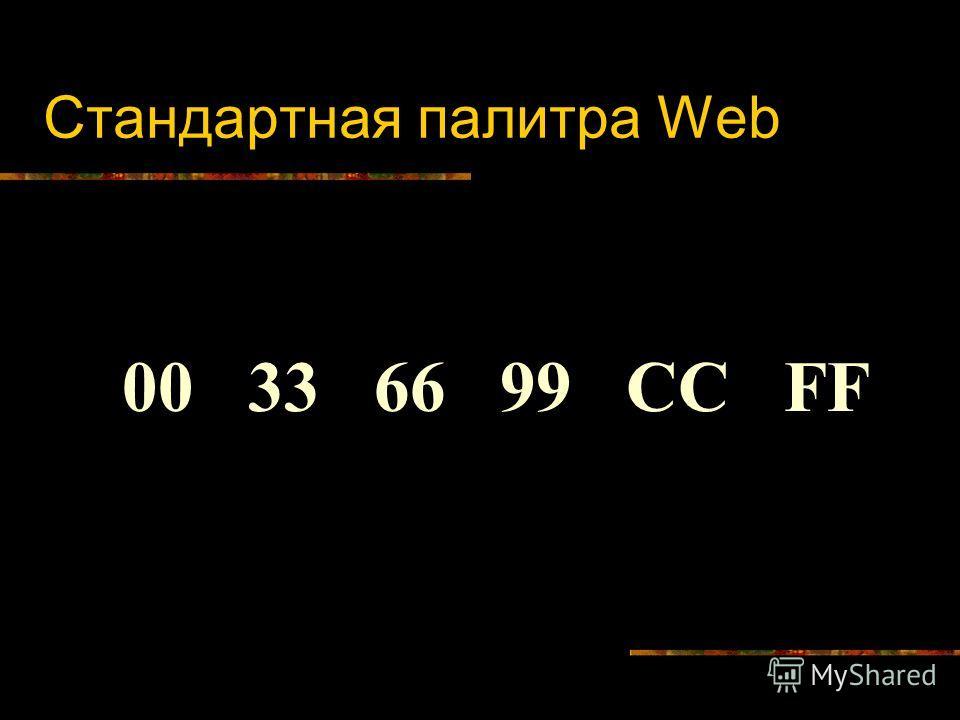 Стандартная палитра Web 00 33 66 99 СС FF
