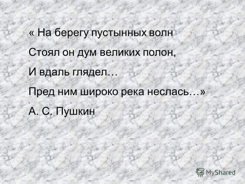 « На берегу пустынных волн Стоял он дум великих полон, И вдаль глядел… Пред ним широко река неслась…» А. С. Пушкин