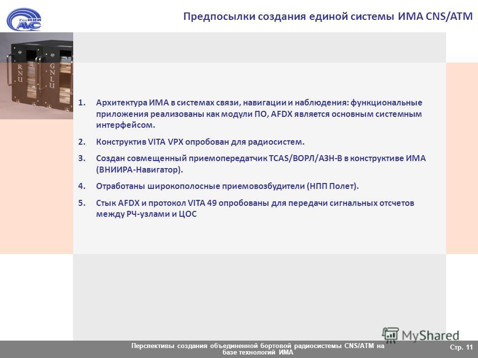 Перспективы создания объединенной бортовой радиосистемы CNS/ATM на базе технологий ИМА Стр. 11 Предпосылки создания единой системы ИМА CNS/ATM 1.Архитектура ИМА в системах связи, навигации и наблюдения: функциональные приложения реализованы как модул