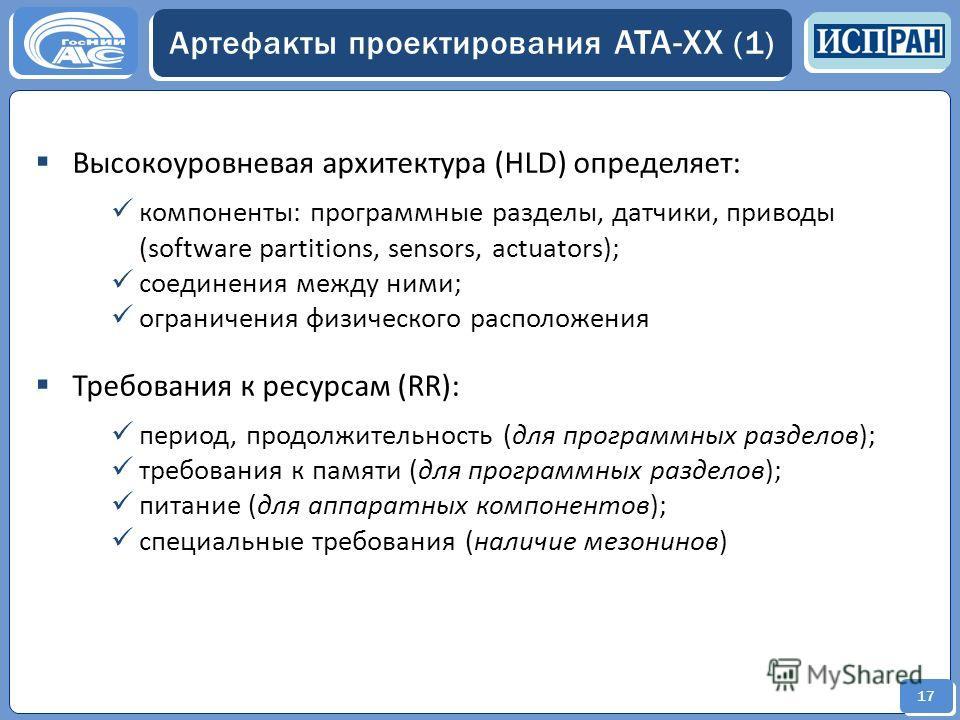 17 Артефакты проектирования ATA-XX (1) Высокоуровневая архитектура (HLD) определяет: компоненты: программные разделы, датчики, приводы (software partitions, sensors, actuators); соединения между ними; ограничения физического расположения Требования к