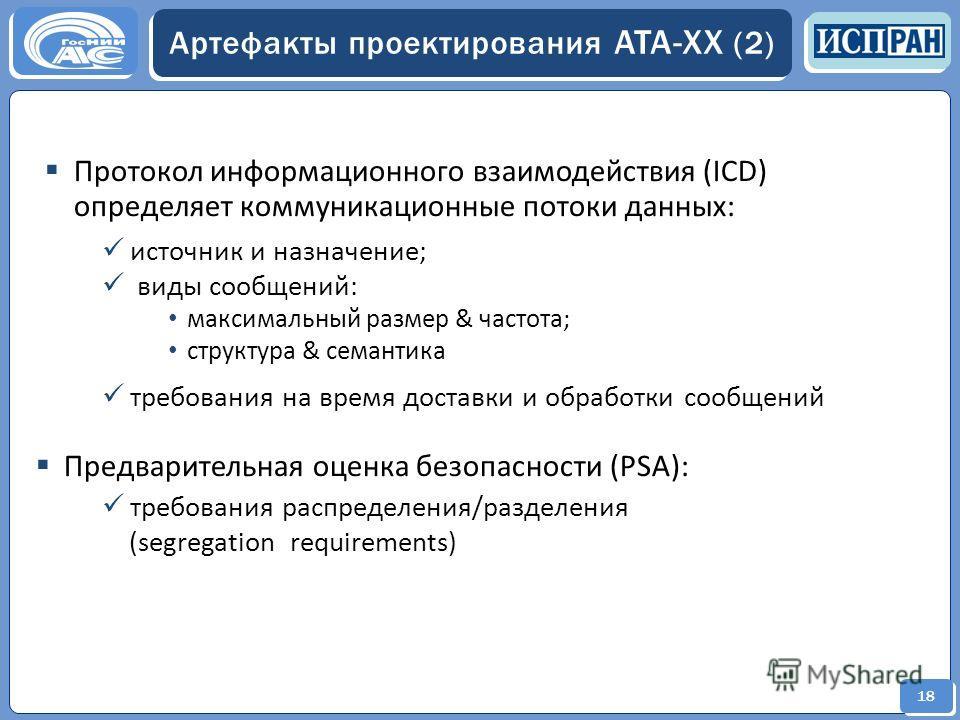 18 Артефакты проектирования ATA-XX (2) Протокол информационного взаимодействия (ICD) определяет коммуникационные потоки данных: источник и назначение; виды сообщений: максимальный размер & частота; структура & семантика требования на время доставки и