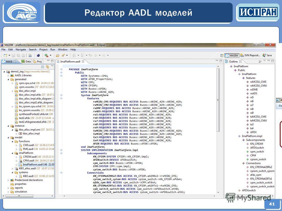 41 Редактор AADL моделей 41