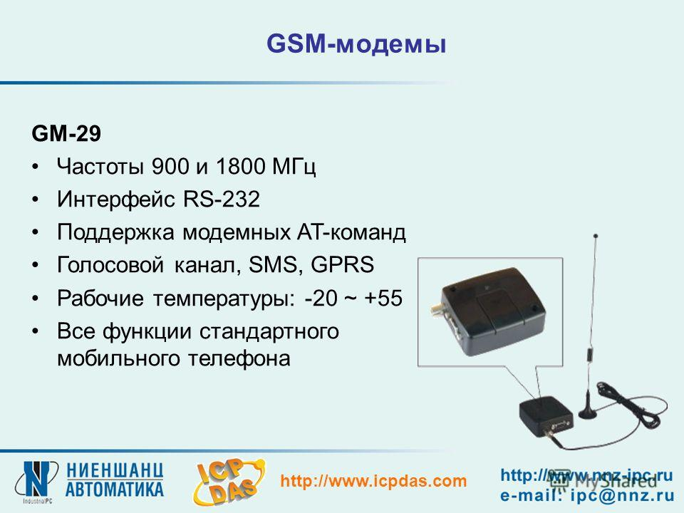 http://www.icpdas.com GSM-модемы GM-29 Частоты 900 и 1800 МГц Интерфейс RS-232 Поддержка модемных AT-команд Голосовой канал, SMS, GPRS Рабочие температуры: -20 ~ +55 Все функции стандартного мобильного телефона
