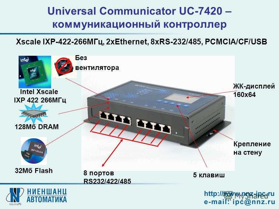 Universal Communicator UC-7420 – коммуникационный контроллер 8 портов RS232/422/485 Intel Xscale IXP 422 266МГц 128Мб DRAM 32Мб Flash ЖК-дисплей 160x64 5 клавиш Крепление на стену Без вентилятора Xscale IXP-422-266МГц, 2xEthernet, 8xRS-232/485, PCMCI