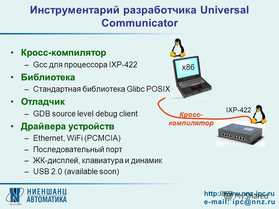 Инструментарий разработчика Universal Communicator Кросс-компилятор –Gcc для процессора IXP-422 Библиотека –Стандартная библиотека Glibc POSIX Отладчик –GDB source level debug client Драйвера устройств –Ethernet, WiFi (PCMCIA) –Последовательный порт