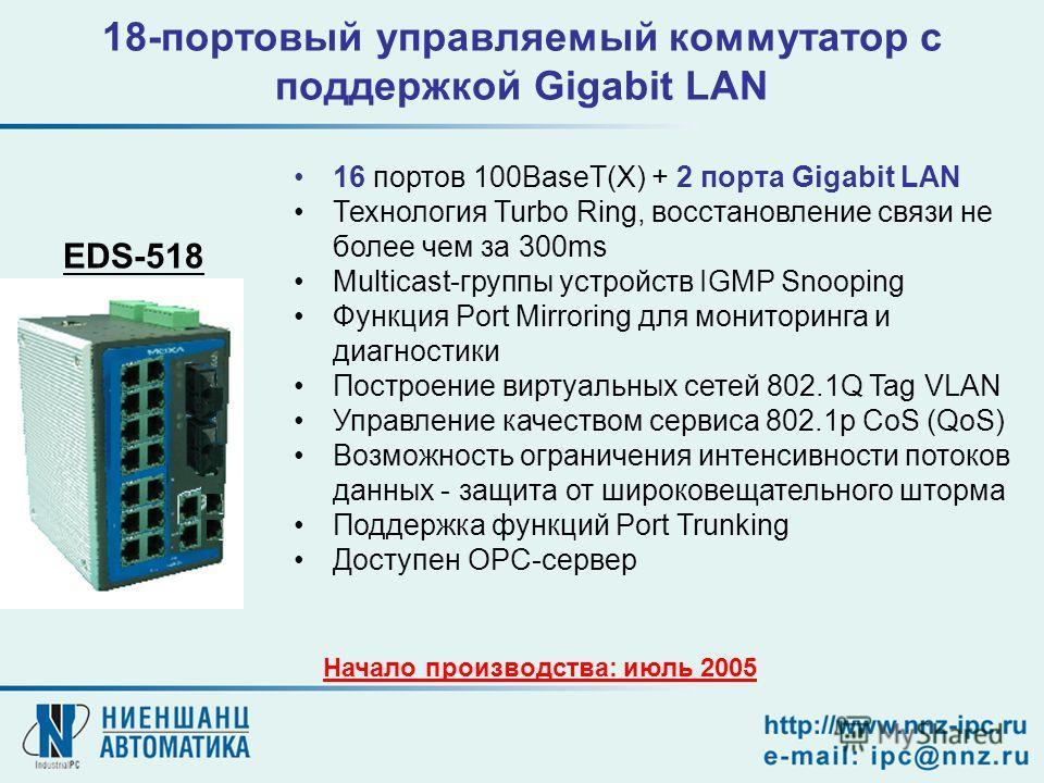 18-портовый управляемый коммутатор с поддержкой Gigabit LAN Начало производства: июль 2005 EDS-518 16 портов 100BaseT(X) + 2 порта Gigabit LAN Технология Turbo Ring, восстановление связи не более чем за 300ms Multicast-группы устройств IGMP Snooping
