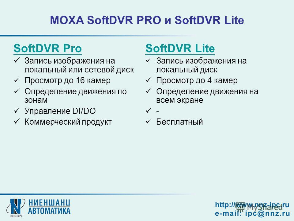 MOXA SoftDVR PRO и SoftDVR Lite SoftDVR Pro Запись изображения на локальный или сетевой диск Просмотр до 16 камер Определение движения по зонам Управление DI/DO Коммерческий продукт SoftDVR Lite Запись изображения на локальный диск Просмотр до 4 каме