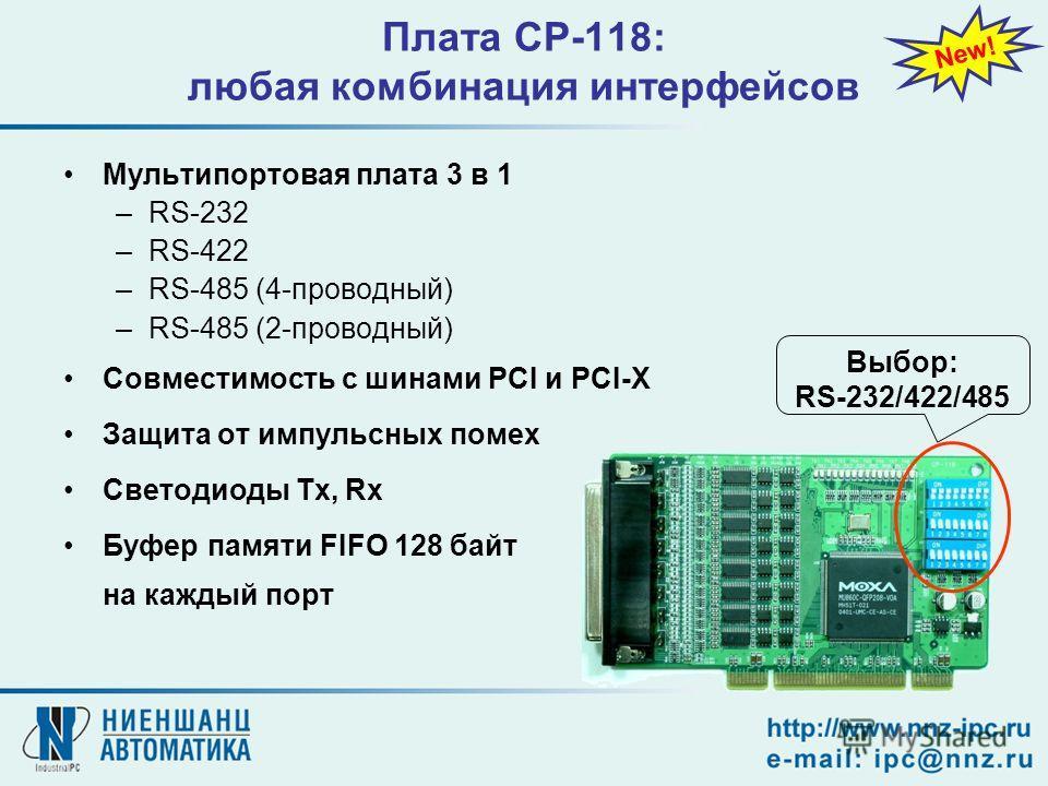 Плата CP-118: любая комбинация интерфейсов Мультипортовая плата 3 в 1 –RS-232 –RS-422 –RS-485 (4-проводный) –RS-485 (2-проводный) Совместимость с шинами PCI и PCI-X Защита от импульсных помех Светодиоды Tx, Rx Буфер памяти FIFO 128 байт на каждый пор