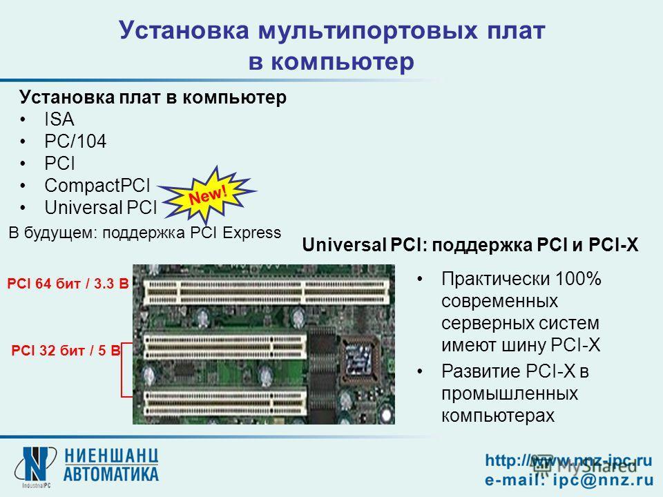 Установка мультипортовых плат в компьютер Установка плат в компьютер ISA PC/104 PCI CompactPCI Universal PCI New! PCI 64 бит / 3.3 В PCI 32 бит / 5 В Практически 100% современных серверных систем имеют шину PCI-X Развитие PCI-X в промышленных компьют