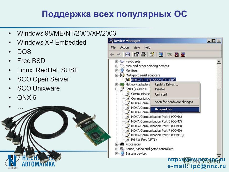 Поддержка всех популярных ОС Windows 98/ME/NT/2000/XP/2003 Windows XP Embedded DOS Free BSD Linux: RedHat, SUSE SCO Open Server SCO Unixware QNX 6 …
