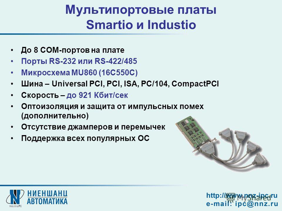 Мультипортовые платы Smartio и Industio До 8 COM-портов на плате Порты RS-232 или RS-422/485 Микросхема MU860 (16C550C) Шина – Universal PCI, PCI, ISA, PC/104, CompactPCI Скорость – до 921 Кбит/сек Оптоизоляция и защита от импульсных помех (дополните