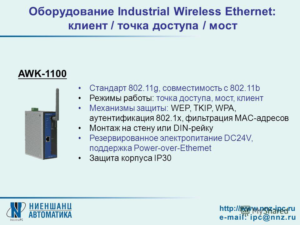 Оборудование Industrial Wireless Ethernet: клиент / точка доступа / мост AWK-1100 Стандарт 802.11g, совместимость с 802.11b Режимы работы: точка доступа, мост, клиент Механизмы защиты: WEP, TKIP, WPA, аутентификация 802.1x, фильтрация MAC-адресов Мон