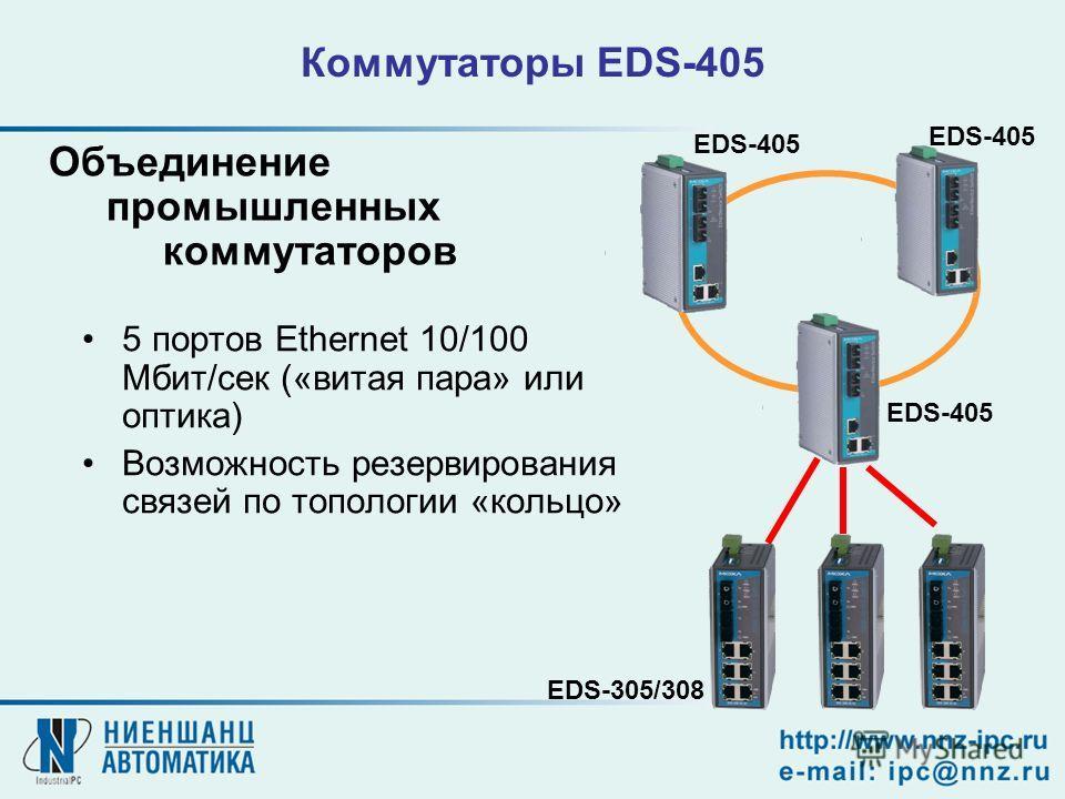 Коммутаторы EDS-405 5 портов Ethernet 10/100 Мбит/сек («витая пара» или оптика) Возможность резервирования связей по топологии «кольцо» Объединение промышленных коммутаторов EDS-405 EDS-305/308