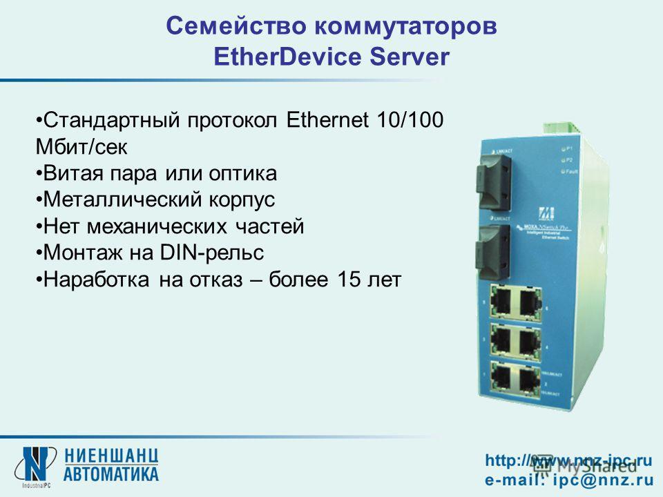 Семейство коммутаторов EtherDevice Server Стандартный протокол Ethernet 10/100 Мбит/сек Витая пара или оптика Металлический корпус Нет механических частей Монтаж на DIN-рельс Наработка на отказ – более 15 лет