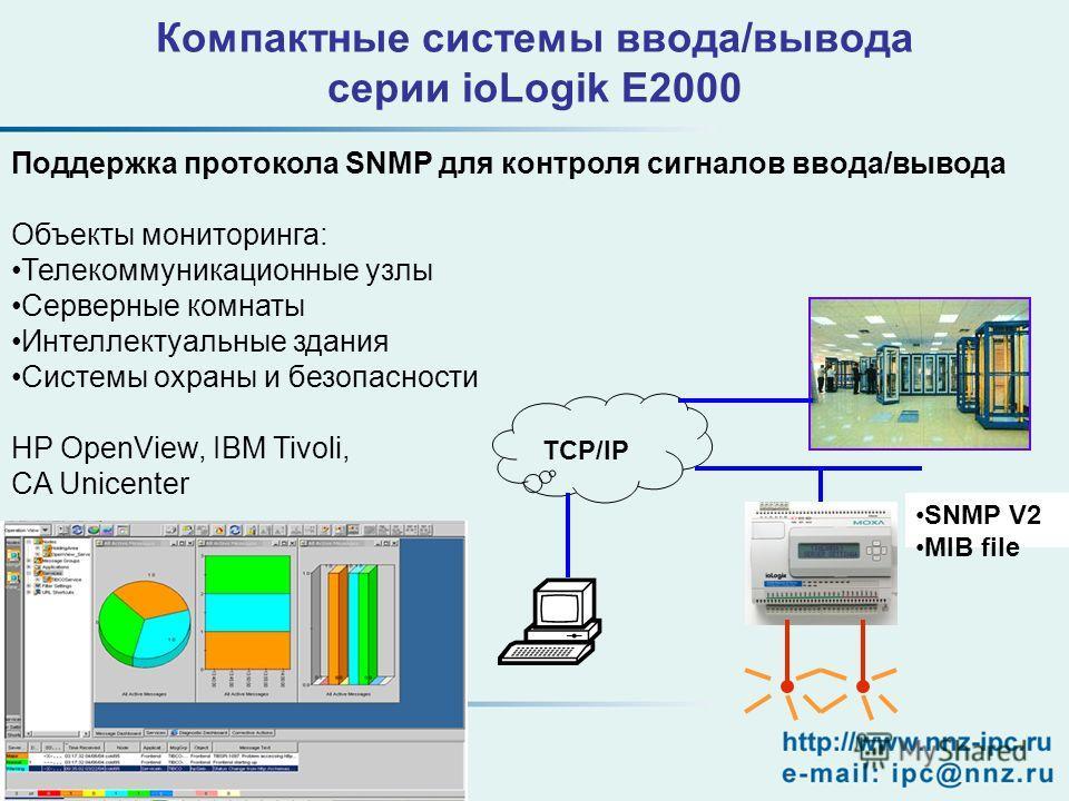 Поддержка протокола SNMP для контроля сигналов ввода/вывода Объекты мониторинга: Телекоммуникационные узлы Серверные комнаты Интеллектуальные здания Системы охраны и безопасности HP OpenView, IBM Tivoli, CA Unicenter TCP/IP SNMP V2 MIB file Компактны