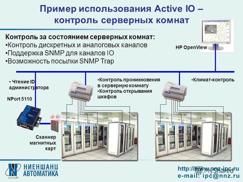Контроль за состоянием серверных комнат: Контроль дискретных и аналоговых каналов Поддержка SNMP для каналов IO Возможность посылки SNMP Trap HP OpenView Пример использования Active IO – контроль серверных комнат Контроль проникновения в серверную ко