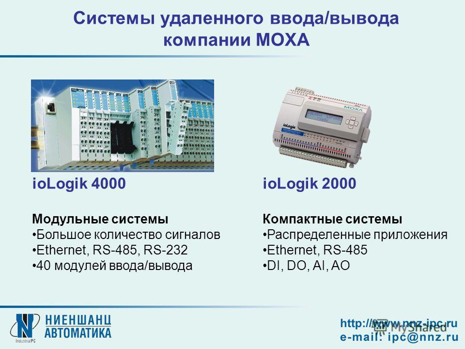 ioLogik 4000 Модульные системы Большое количество сигналов Ethernet, RS-485, RS-232 40 модулей ввода/вывода ioLogik 2000 Компактные системы Распределенные приложения Ethernet, RS-485 DI, DO, AI, AO Системы удаленного ввода/вывода компании MOXA
