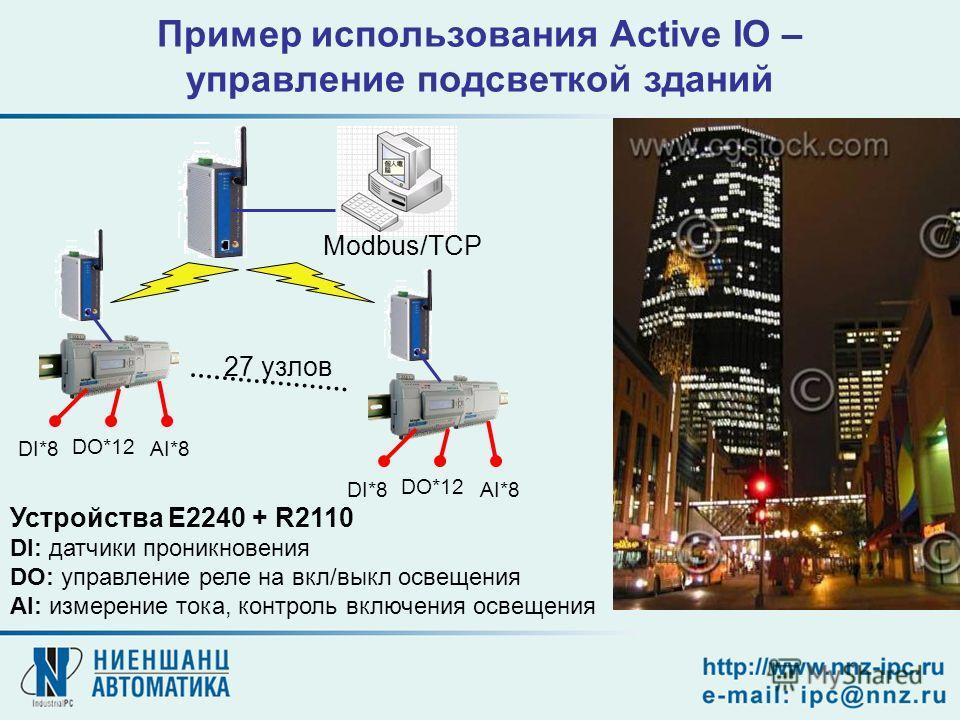 27 узлов Устройства E2240 + R2110 DI: датчики проникновения DO: управление реле на вкл/выкл освещения AI: измерение тока, контроль включения освещения Modbus/TCP Пример использования Active IO – управление подсветкой зданий DI*8 DO*12 AI*8DI*8 DO*12