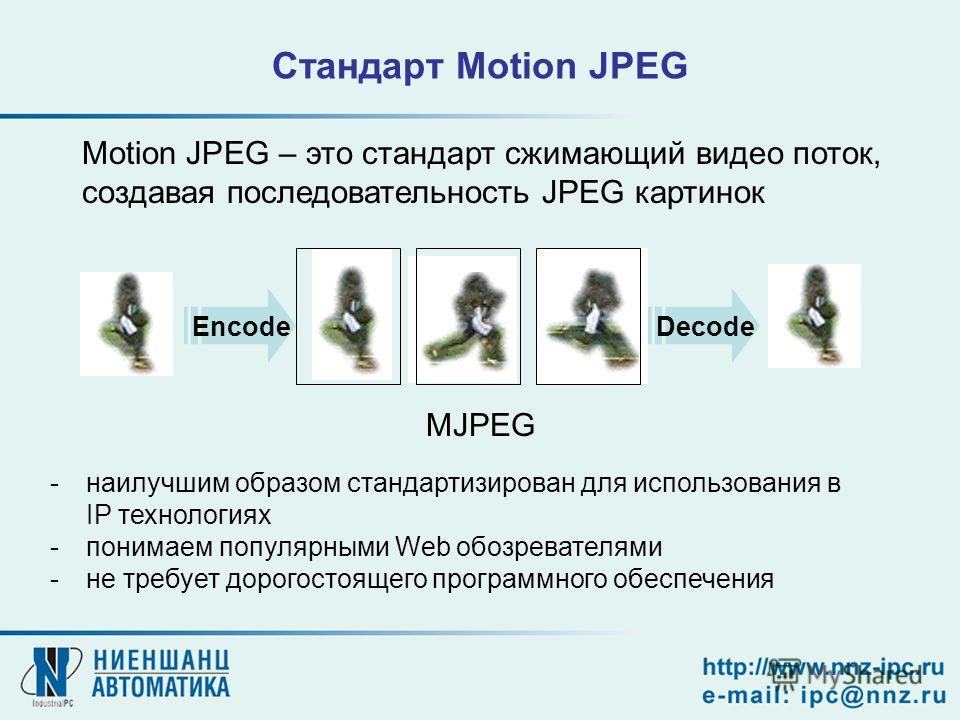MJPEG EncodeDecode Стандарт Motion JPEG Motion JPEG – это стандарт сжимающий видео поток, создавая последовательность JPEG картинок -наилучшим образом стандартизирован для использования в IP технологиях -понимаем популярными Web обозревателями -не тр