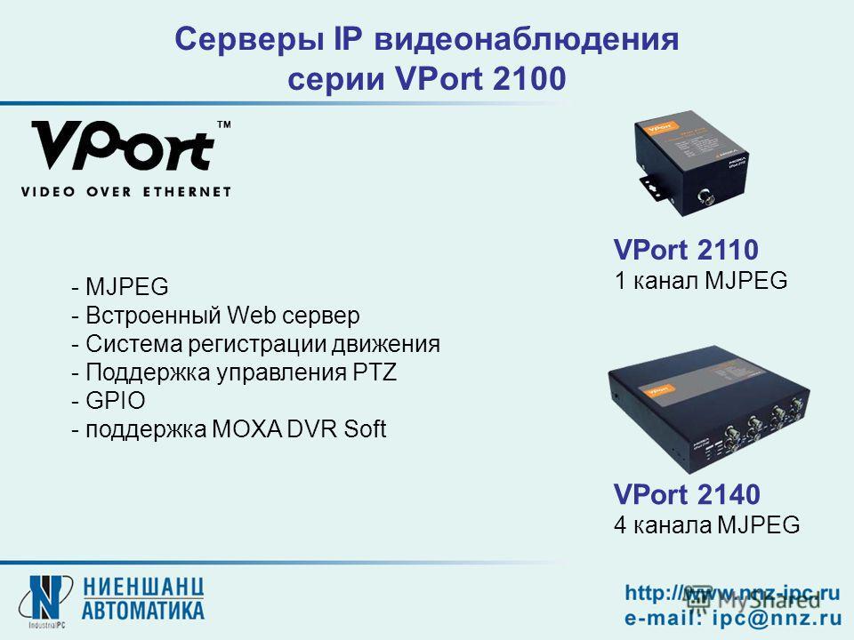 VPort 2140 4 канала MJPEG VPort 2110 1 канал MJPEG Серверы IP видеонаблюдения серии VPort 2100 - MJPEG - Встроенный Web сервер - Система регистрации движения - Поддержка управления PTZ - GPIO - поддержка MOXA DVR Soft
