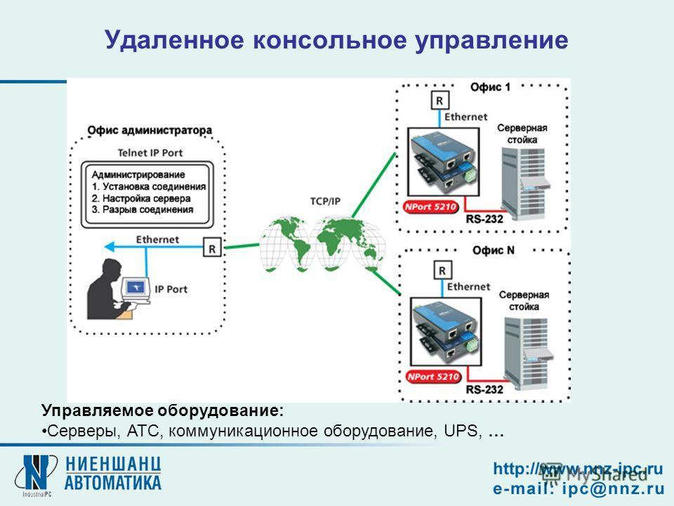 Удаленное консольное управление Управляемое оборудование: Серверы, АТС, коммуникационное оборудование, UPS, …