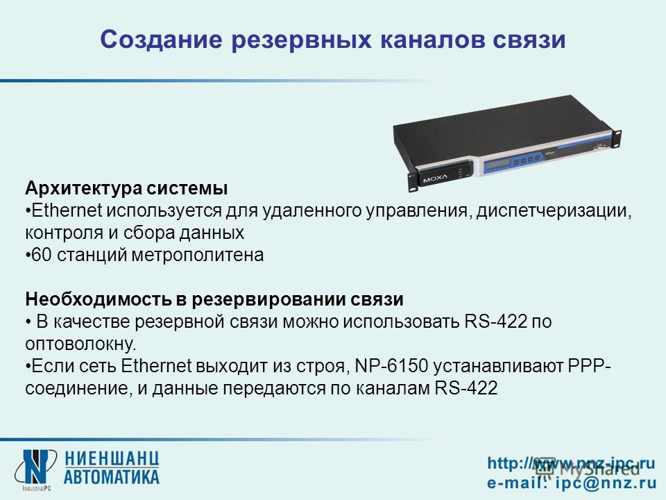 Архитектура системы Ethernet используется для удаленного управления, диспетчеризации, контроля и сбора данных 60 станций метрополитена Необходимость в резервировании связи В качестве резервной связи можно использовать RS-422 по оптоволокну. Если сеть