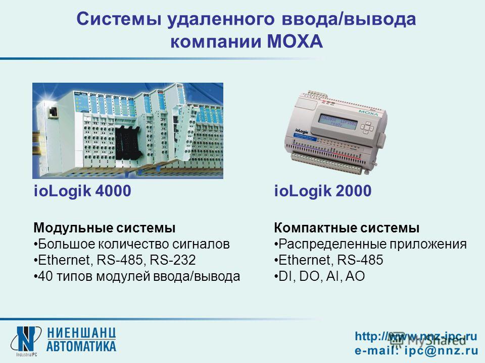 ioLogik 4000 Модульные системы Большое количество сигналов Ethernet, RS-485, RS-232 40 типов модулей ввода/вывода ioLogik 2000 Компактные системы Распределенные приложения Ethernet, RS-485 DI, DO, AI, AO Системы удаленного ввода/вывода компании MOXA