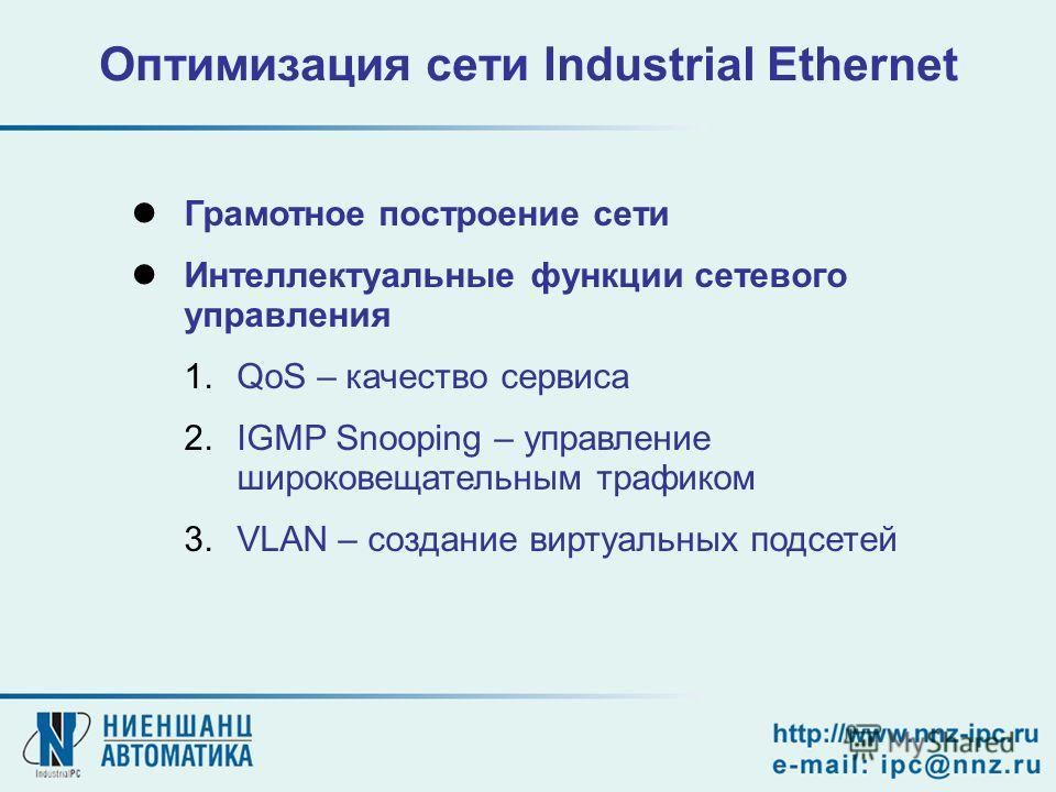 Оптимизация сети Industrial Ethernet Грамотное построение сети Интеллектуальные функции сетевого управления 1.QoS – качество сервиса 2.IGMP Snooping – управление широковещательным трафиком 3.VLAN – создание виртуальных подсетей