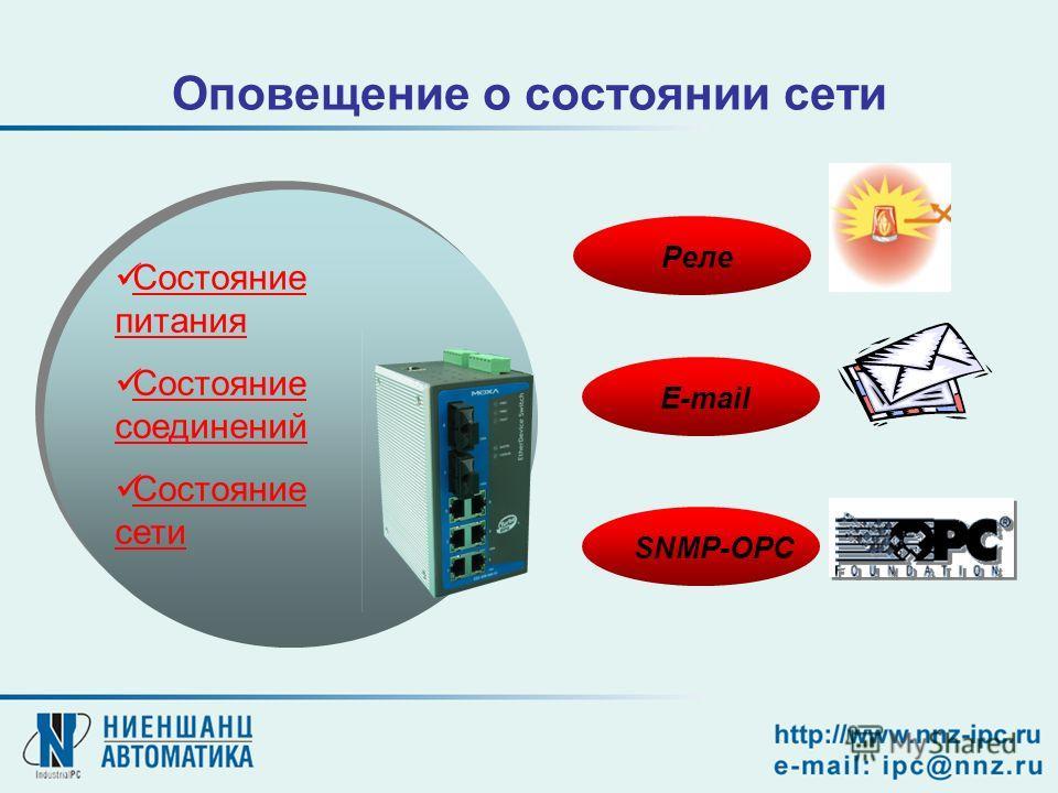 Оповещение о состоянии сети Состояние питания Состояние соединений Состояние сети Реле SNMP-OPC E-mail