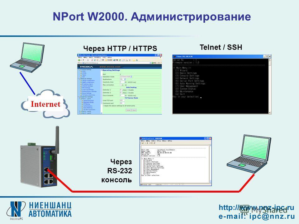 NPort W2000. Администрирование Через RS-232 консоль Internet Через HTTP / HTTPS Telnet / SSH