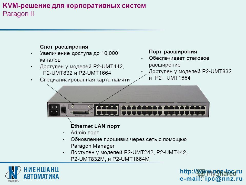 Слот расширения Увеличение доступа до 10,000 каналов Доступен у моделей P2-UMT442, P2-UMT832 и P2-UMT1664 Специализированная карта памяти Ethernet LAN порт Admin порт Обновление прошивки через сеть с помощью Paragon Manager Доступен у моделей P2-UMT2