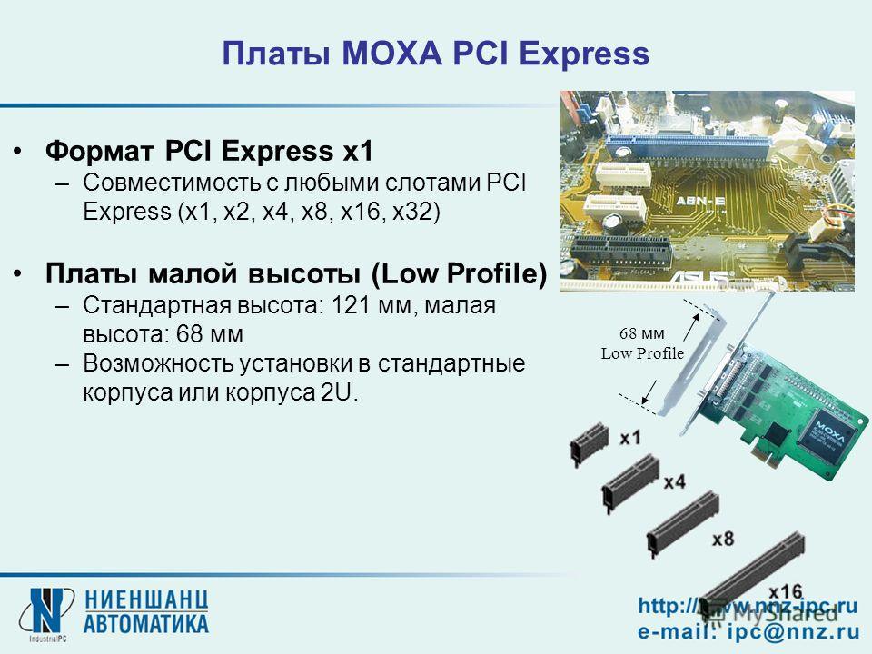 Формат PCI Express x1 –Совместимость с любыми слотами PCI Express (x1, x2, x4, x8, x16, x32) Платы малой высоты (Low Profile) –Стандартная высота: 121 мм, малая высота: 68 мм –Возможность установки в стандартные корпуса или корпуса 2U. 68 мм Low Prof