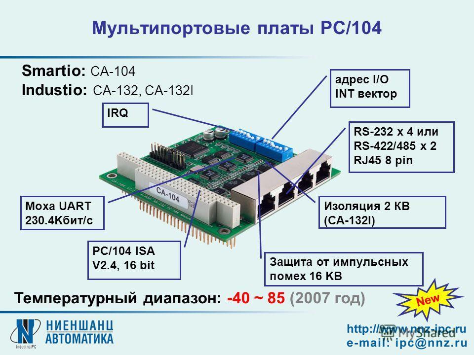 Мультипортовые платы PC/104 Smartio: CA-104 Industio: CA-132, CA-132I адрес I/O INT вектор RS-232 x 4 или RS-422/485 x 2 RJ45 8 pin PC/104 ISA V2.4, 16 bit IRQ Moxa UART 230.4Kбит/с Защита от импульсных помех 16 KВ Изоляция 2 КВ (CA-132I) Температурн