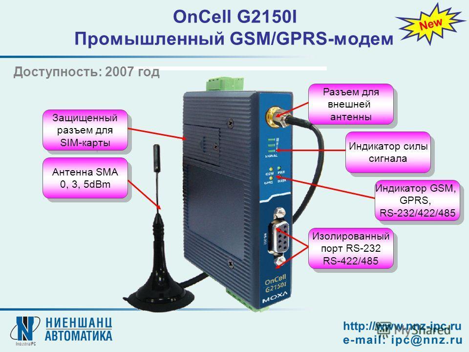 OnCell G2150I Промышленный GSM/GPRS-модем Защищенный разъем для SIM-карты Антенна SMA 0, 3, 5dBm Антенна SMA 0, 3, 5dBm Разъем для внешней антенны Индикатор силы сигнала Индикатор GSM, GPRS, RS-232/422/485 Изолированный порт RS-232 RS-422/485 Изолиро
