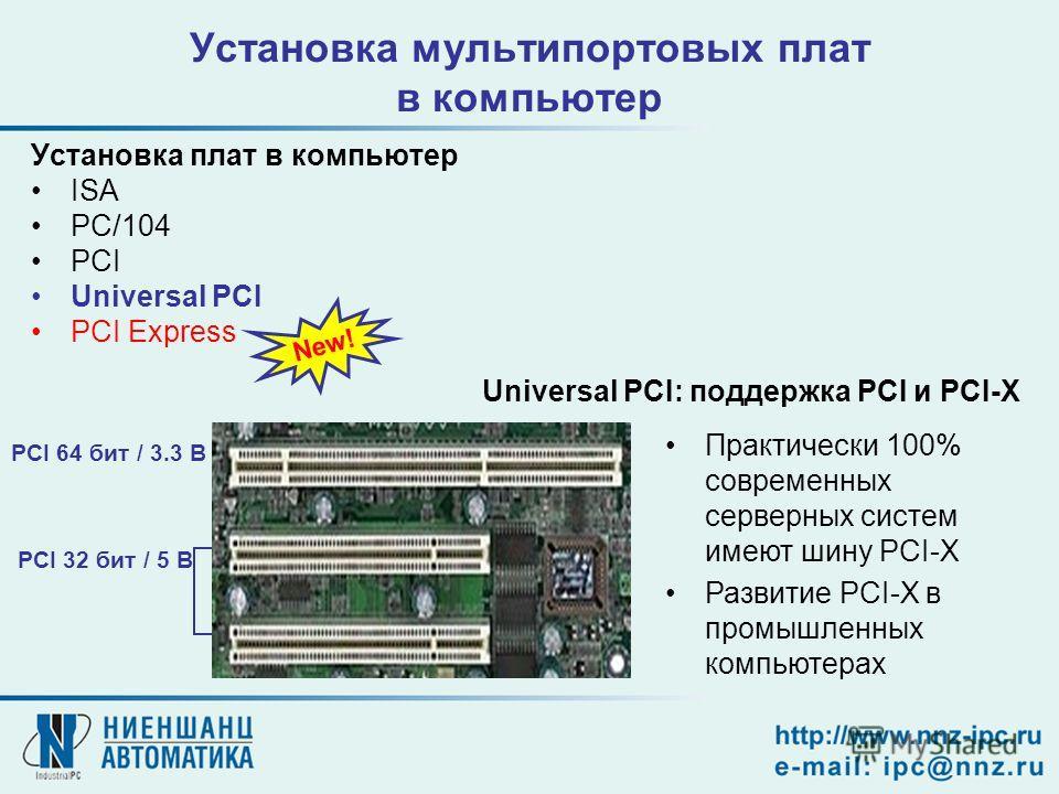 Установка мультипортовых плат в компьютер Установка плат в компьютер ISA PC/104 PCI Universal PCI PCI Express New! PCI 64 бит / 3.3 В PCI 32 бит / 5 В Практически 100% современных серверных систем имеют шину PCI-X Развитие PCI-X в промышленных компью