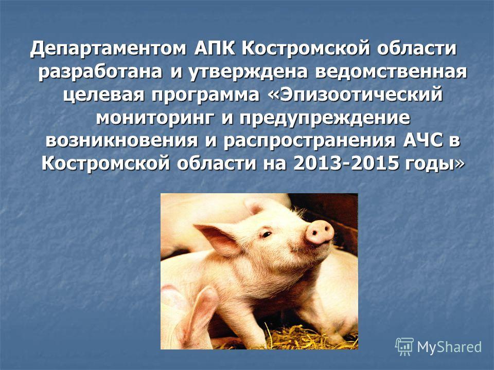 Департаментом АПК Костромской области разработана и утверждена ведомственная целевая программа «Эпизоотический мониторинг и предупреждение возникновения и распространения АЧС в Костромской области на 2013-2015 годы»