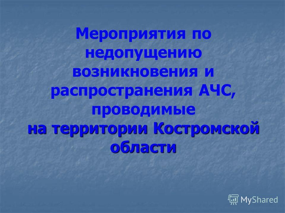 на территории Костромской области Мероприятия по недопущению возникновения и распространения АЧС, проводимые на территории Костромской области