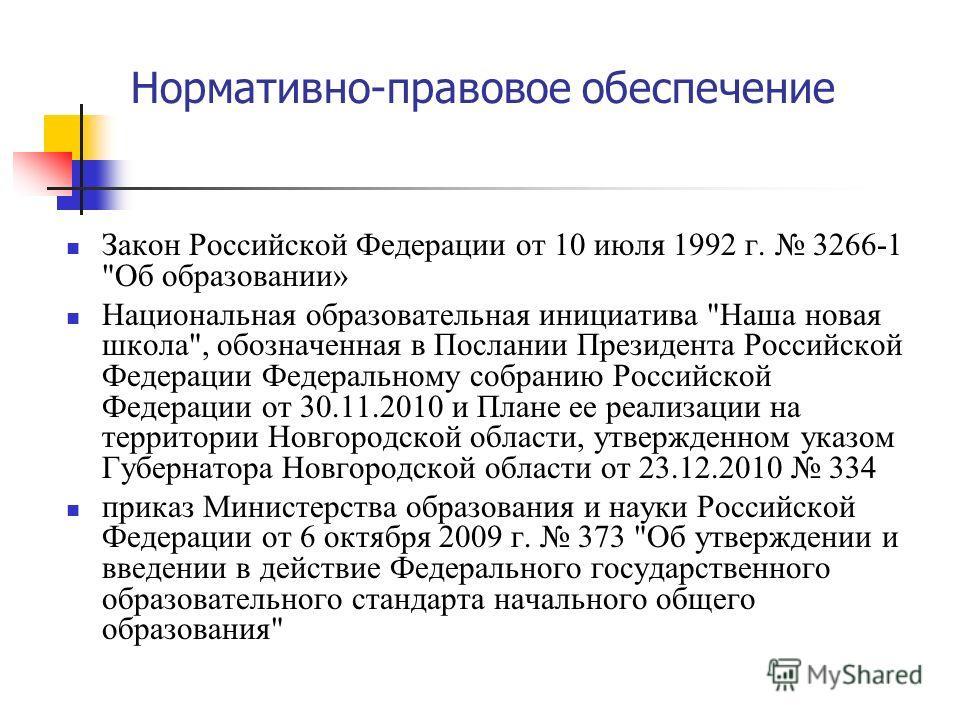 Нормативно-правовое обеспечение Закон Российской Федерации от 10 июля 1992 г. 3266-1