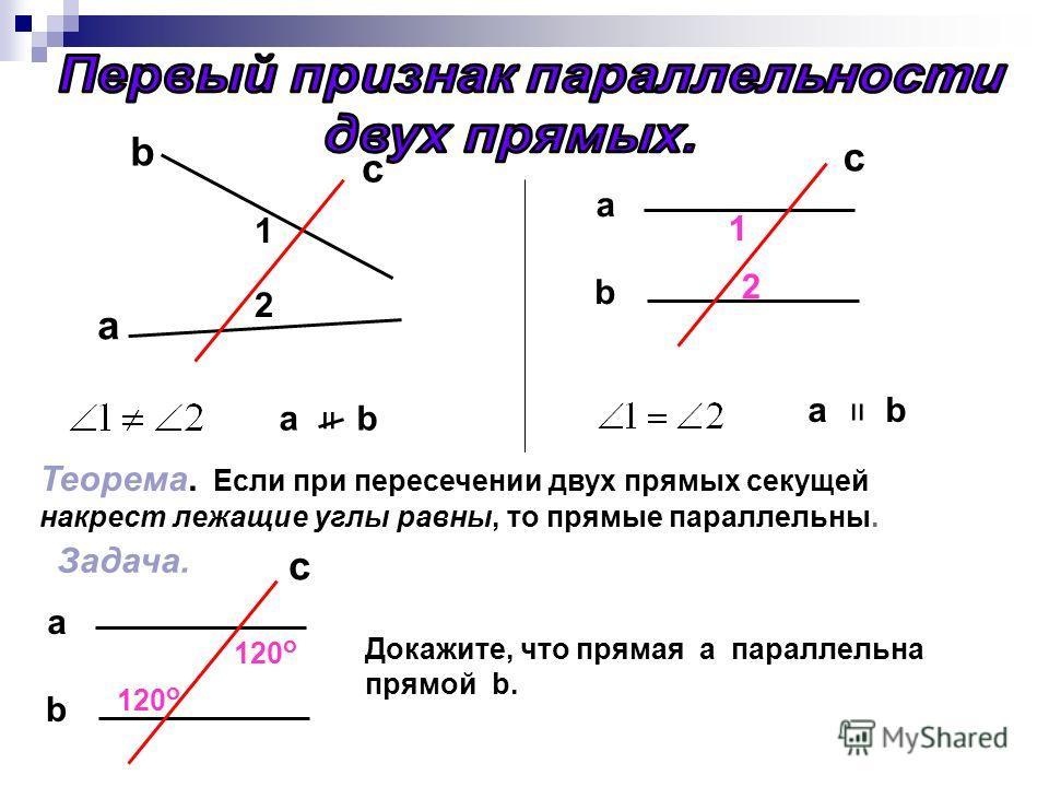 b а c 1 2 a b = c b a 1 2 = Теорема. Если при пересечении двух прямых секущей накрест лежащие углы равны, то прямые параллельны. Задача. b a 120 о c Докажите, что прямая а параллельна прямой b.