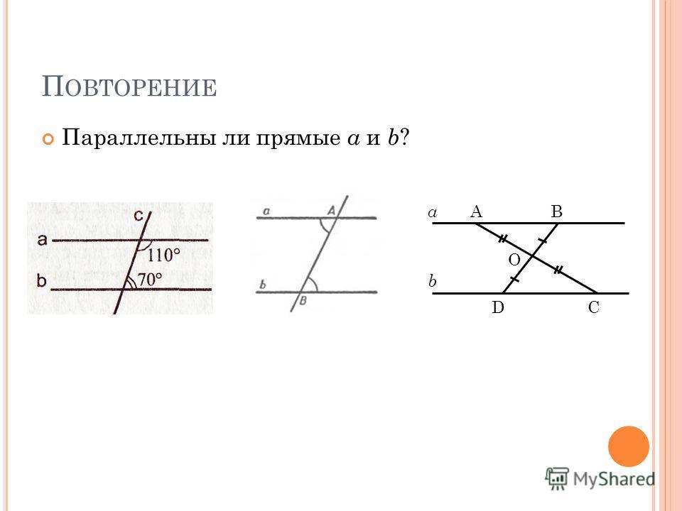 П ОВТОРЕНИЕ Параллельны ли прямые a и b ? О АВ СD а b