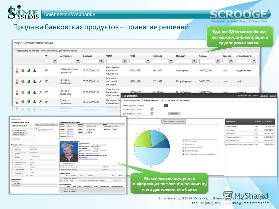 Единая БД заявок в банке, возможность фильтрации и группировки заявок Максимально доступная информация по заявке и по клиенту и его деятельности в банке