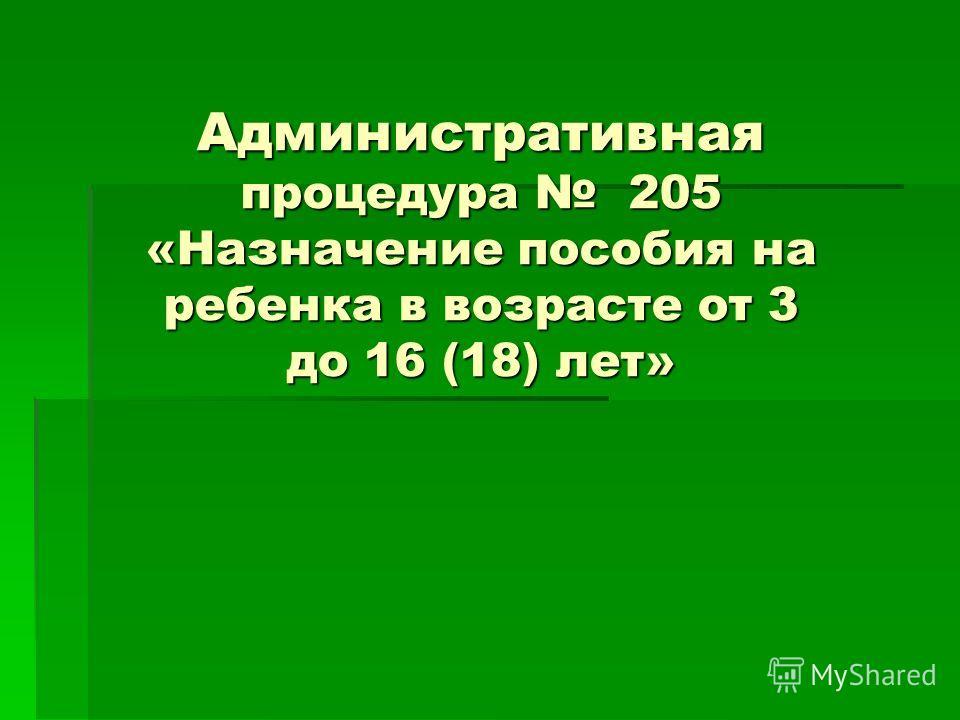 Административная процедура 205 «Назначение пособия на ребенка в возрасте от 3 до 16 (18) лет»